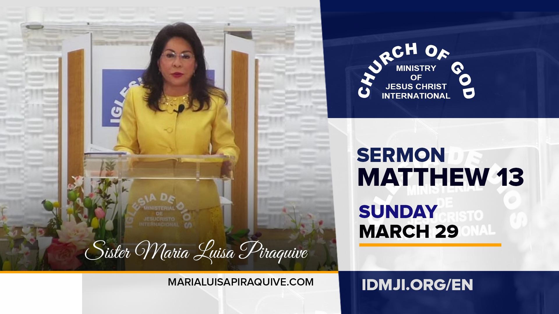 Sermon: Matthew 13 at Weston, Florida, USA (3-29-2020) | Sister Maria Luisa Piraquive – CGMJCI